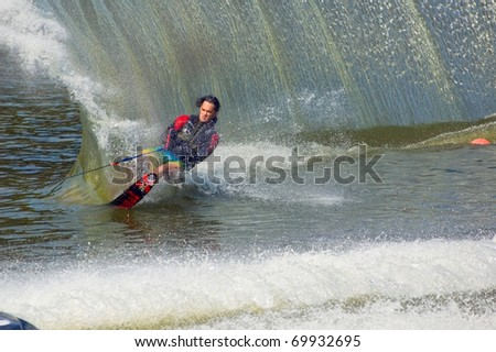 DNEPROPETROVSK, UKRAINE - SEPTEMBER 12: An unidentified participant shows his skills during  International Waterski and Wakeboard competition on September 12, 2010 in Dnepropetrovsk, Ukraine