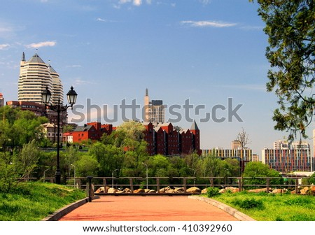Dnepropetrovsk, Ukraine, view of the city from the Monastery  Island.