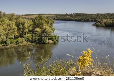Dnieper River with the islands in Zaporozhye. Ukraine - stock photo