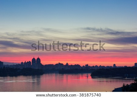 Dnipro River and the city of Kiev in the sunset