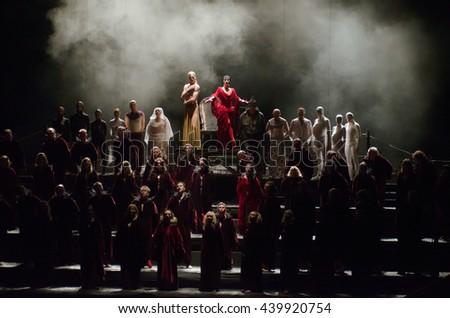 DNIPRO, UKRAINE - JUNE  17, 2016: Members of the Dnipropetrovsk State Opera and Ballet Theatre perform Carmina Burana.