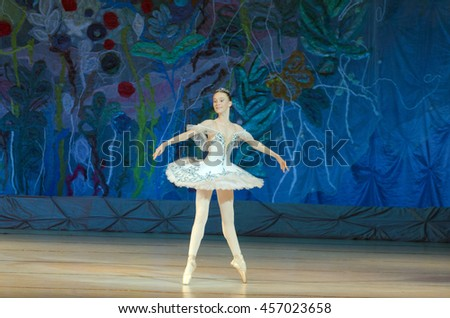 DNIPRO, UKRAINE - JUNE 26, 2016: V.Mulin, age 15 years old, performs This eternal ballet tale at State Opera and Ballet Theatre.