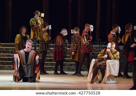 DNIPRO, UKRAINE - MAY  25, 2016: Rigoletto opera performed by members of the Dnipropetrovsk State Opera and Ballet Theatre.