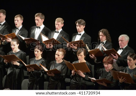 DNIPROPETROVSK, UKRAINE - APRIL 26, 2016: Members of the Choir of the State Opera and Ballet Theatre perform Mozart's REQUIEM.