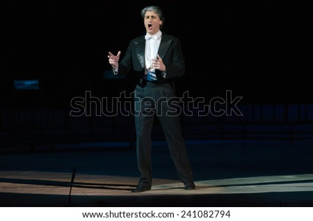 DNIPROPETROVSK, UKRAINE - DECEMBER 26: Famous singer Timur Parulava performs at the State Opera and Ballet Theatre on December 26, 2014 in Dnipropetrovsk, Ukraine - stock photo