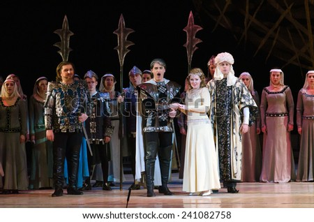 DNIPROPETROVSK, UKRAINE - DECEMBER 26: Members of the Dnipropetrovsk State Opera and Ballet Theatre perform IOLANTA on December 26, 2014 in Dnipropetrovsk, Ukraine