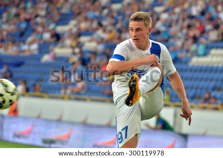 DNIPROPETROVSK, UKRAINE - JULY 26, 2015: Andriy Bliznichenko FC Dnipro in action during soccer match vs FC Chernomorets. - stock photo
