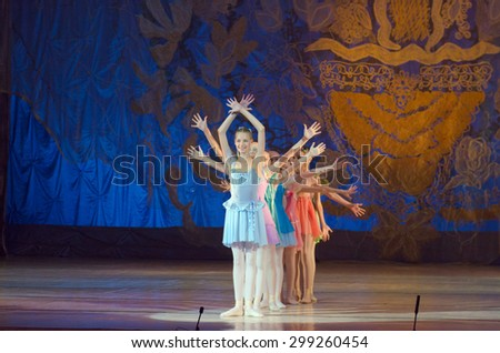 DNIPROPETROVSK, UKRAINE - JUNE 27, 2015: Unidentified girls, ages 7-15 years old, perform Fairies at State Opera and Ballet Theatre.