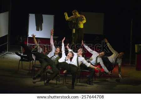 DNIPROPETROVSK, UKRAINE - MARCH 1: Members of the Dnepropetrovsk Youth Theatre VERIM perform RAVEN on March 1, 2015 in Dnipropetrovsk, Ukraine