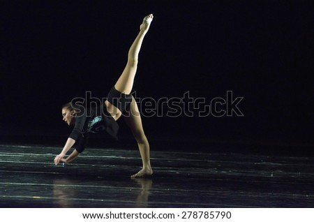 DNIPROPETROVSK, UKRAINE - MAY 16: Catherine Hamko performs CYCLE OF EVENTS at State Opera and Ballet Theatre on May 16, 2015 in Dnipropetrovsk, Ukraine - stock photo