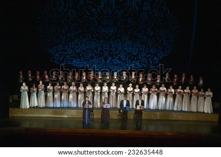 DNIPROPETROVSK, UKRAINE - NOVEMBER 22: Members of the Choir of the State Opera and Ballet Theatre perform Verdi's REQUIEM on November 22, 2014 in Dnipropetrovsk, Ukraine