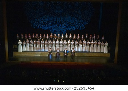 DNIPROPETROVSK, UKRAINE - NOVEMBER 22: Members of the Choir of the State Opera and Ballet Theatre perform Verdi's REQUIEM on November 22, 2014 in Dnipropetrovsk, Ukraine - stock photo