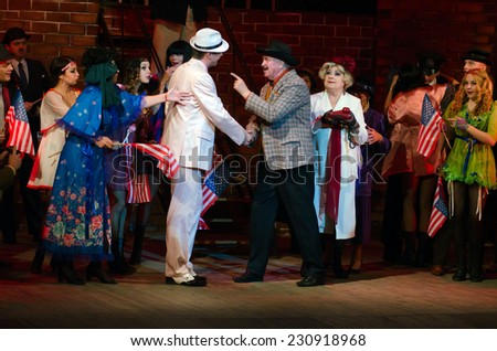 DNIPROPETROVSK, UKRAINE - NOVEMBER 15: Members of the Dnepropetrovsk State Russian Drama Theatre perform LADY FOR A DAY on November 15, 2014 in Dnipropetrovsk, Ukraine