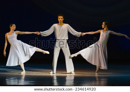 DNIPROPETROVSK, UKRAINE - NOVEMBER 30: Members of the Dnipropetrovsk State Opera and Ballet Theatre perform CREATIVE EVENING OLEG NIKOLAEV on November 30, 2014 in Dnipropetrovsk, Ukraine