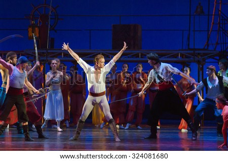 DNIPROPETROVSK, UKRAINE - OCTOBER 4, 2015: Members of the Dnipropetrovsk State Opera and Ballet Theatre perform Corsair
