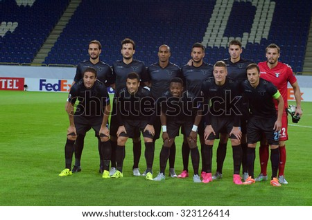 DNIPROPETROVSK, UKRAINE - SEPTEMBER 17, 2015: Football Club Lazio Team before the match of UEFA Europa League FC Dnipro vs SS Lazio. - stock photo