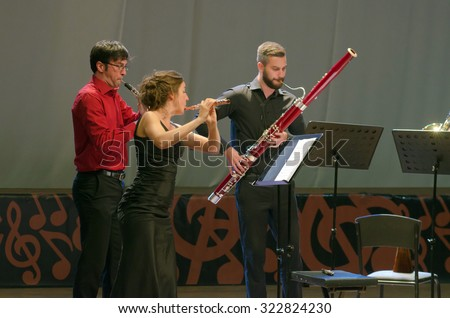 DNIPROPETROVSK, UKRAINE - SEPTEMBER 25, 2015: Members of the woodwind quintet PentAnemos perform at the Philharmonic - stock photo