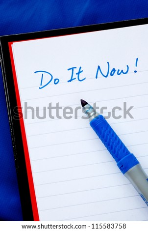 Do It Now concepts of to do list isolated on blue - stock photo
