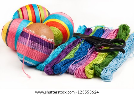 Do it yourself Easter eggs decoration - stock photo