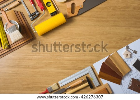 Do it yourself tool stock images royalty free images vectors do it yourself home remodeling and renovation concept work table top view with tools solutioingenieria Gallery