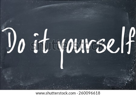 do it yourself text write on blackboard - stock photo