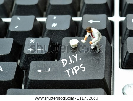 Do it yourself tips on keyboard return enter key button - stock photo