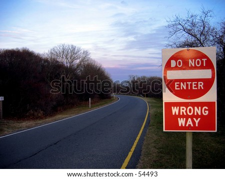 Do not Enter Sign wrong way - stock photo