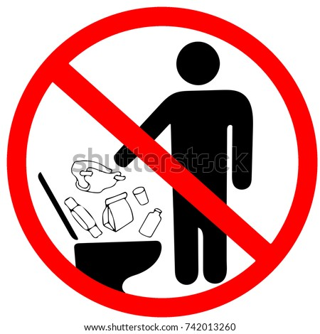 Do not litter in toilet icon keep clean sign no to throw garbage into