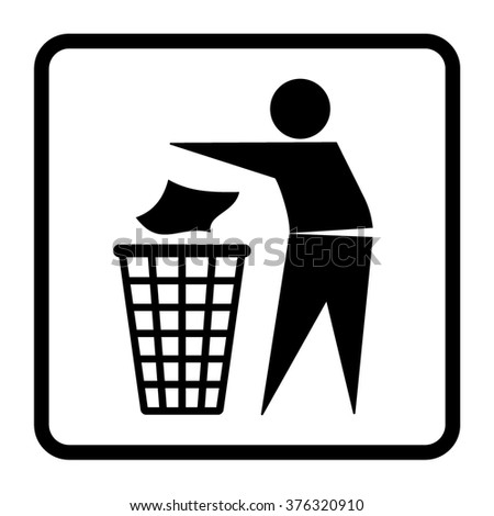 Do not litter sign. Silhouette of a man, throwing garbage in a bin, isolated on white background. Icon illustration - stock photo