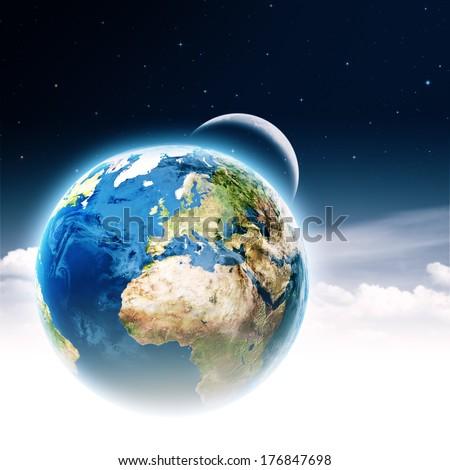 Do not make it a bomb! Earth globe with burning TNT block - stock photo