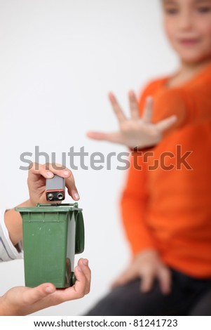 Do not put batteries in your household bin! - stock photo