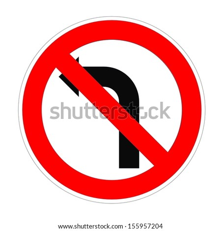 Do not turn left sign in white background - stock photo