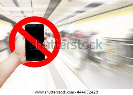 Do not use your mobile phone sign on hand holding smart phone. Off Red Icon Call Cell Use  Area Zone Rule Turn Ring Stop Ban Alert Sos Tel Young Safety Deny Mark Warn Alarm Blank Device Vector Camera - stock photo