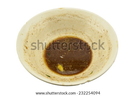 Do not wash the cup , overhead shot of an empty dish  (isolated) - stock photo