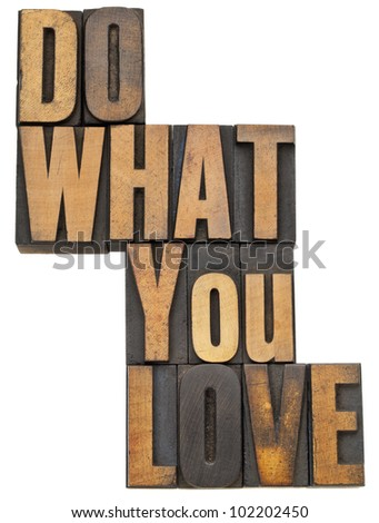 do what you love - motivation  concept - isolated text in vintage letterpress wood type - stock photo