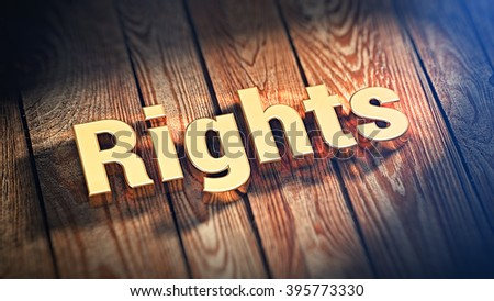 "Do you have rights? The word ""Rights"" is lined with gold letters on wooden planks. 3D illustration image"