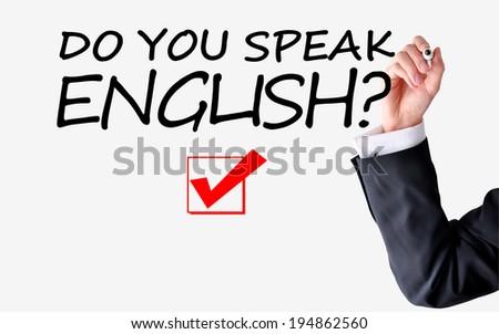 Do you speak English question - stock photo