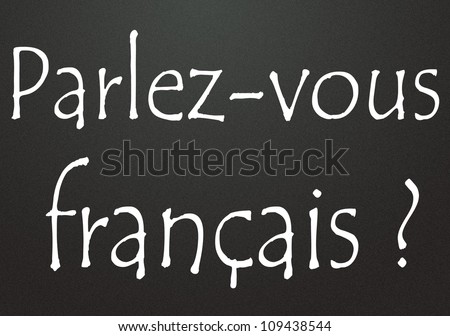 Do you speak French title  in french - stock photo