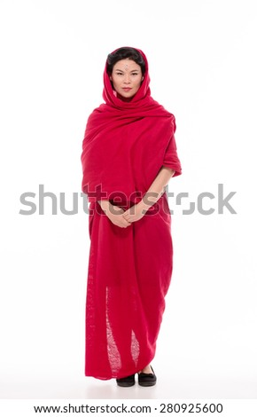 Do you wanna speak about this Indian lady? She looks so boring, because now she is going to an Indian Christian school to have a prayer for her sins. - stock photo
