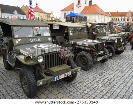 DOBRANY, CZECH REPUBLIC - MAY 2, 2015: American military jeeps. Liberation festival to 70th Anniversary of the Liberation by the US Army and the End of the Second World War in Europe. - stock photo