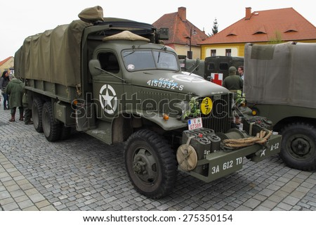 DOBRANY, CZECH REPUBLIC - MAY 2, 2015: American military truck GMC CCKW. Liberation festival to 70th Anniversary of the Liberation by the US Army and the End of the Second World War in Europe. - stock photo