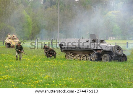 DOBRANY, CZECH REPUBLIC - MAY 1, 2015: German armored vehicles SdKfz 251. Liberation festival to 70th Anniversary of the Liberation by the US Army and the End of the Second World War in Europe. - stock photo