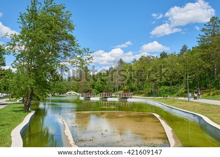 DOBRICH, BULGARIA, 14.05.2016: The pond in the City Park in Dobrich, Bulgaria