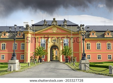 Dobris - the rococo chateau with a distinguished facade, Czech Republic, Europe - stock photo