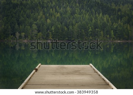 Dock at Clearwater Lake, Wells Gray Provincial Park, North Thompson Region, Clearwater, British Columbia Canada - stock photo