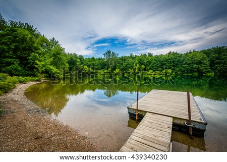 Dock in Lake Marburg, at Codorus State Park, Pennsylvania.