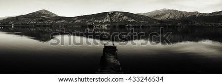 Dock On Lake New Zealand Nature Concept - stock photo