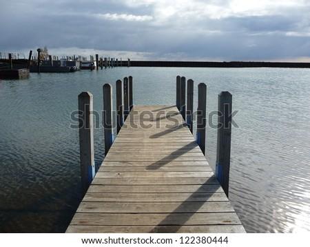 Docked at Lake Superior Michigan - stock photo