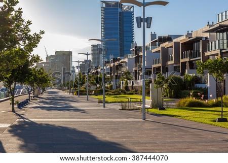 Docklands, Melbourne promenade at sunrise - stock photo