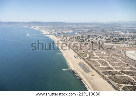 Dockweiler beach aerial in the City of Los Angeles.   - stock photo